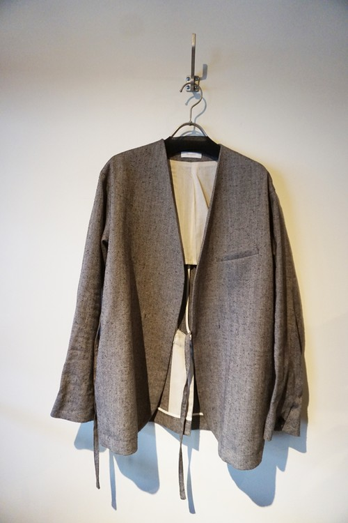 Herringbone Collarless Jacket