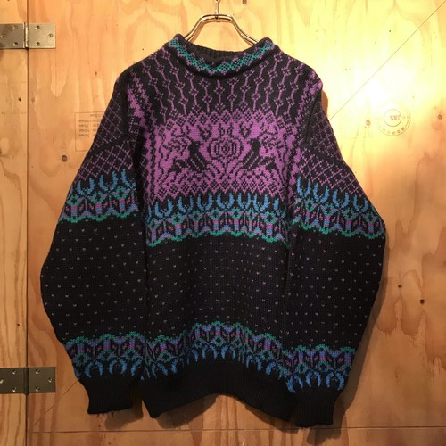 ~90s DALE OF NORWAY M  SWEATER BLACK UT-887