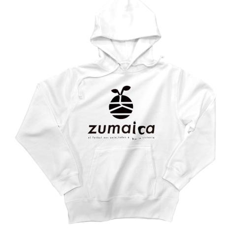 zumaica Wフードプルパーカー White【Black ロゴ】