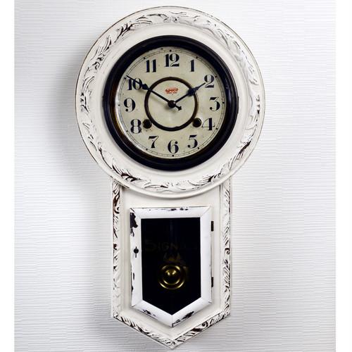 ゼンマイ式アンティーク振子時計、ダメージ加工リペイント・メンテナンス品