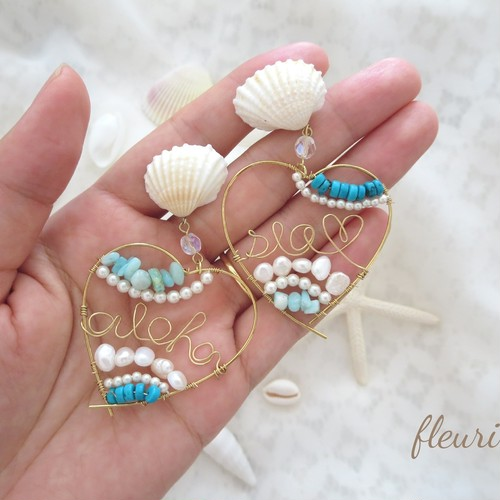 aloha&seaのハートイヤリング