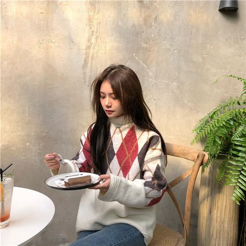 韓国ファッション アーガイルチェック 厚手 バイカラー 暖かい ゆったり ニットセーター トップ