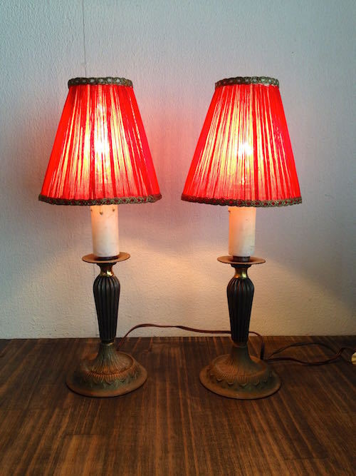 Vintage Red Lamp Pair