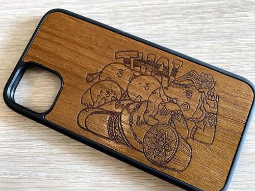 すずきあやえ x Thailand コラボデザイン Type-A スマホケース 木製 天然木 チーク材 おしゃれ iPhone android エスニック アジア タイ 一点物 個性 ウッド 男女兼用 ユニバーサルデザイン Pattern: Thailand