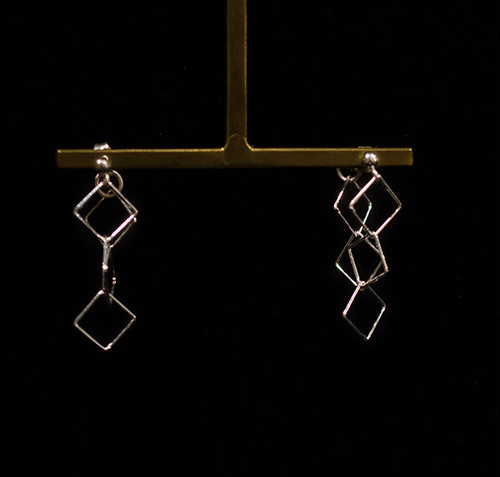 Silver chain pierced earrings