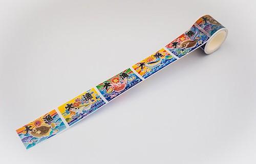 大漁旗マスキングテープ( マダイ、キハダ、ヒラメ、カワハギ、マアジ)