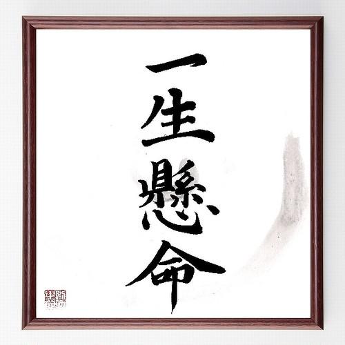四字熟語色紙『一生懸命』額付き/直筆済み/B0063