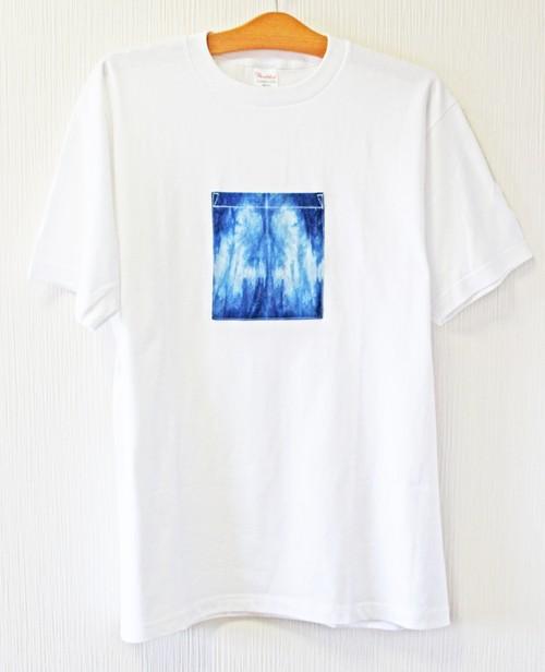 藍染め半袖  L  綿Tシャツ メンズ ユニセックス (AT-48)