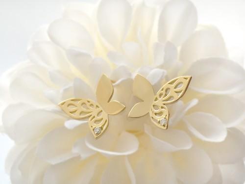 蝶のピアス【ファラーシャ】(K18YG, ダイヤモンド)★受注制作★【送料無料】