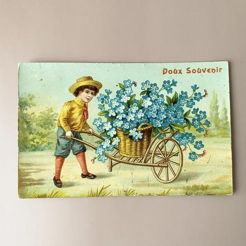 アンティーク Panier de fleurs ポストカード ・e  /  vp0239
