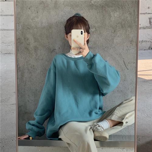 【トップス】韓国系合わせやすいルーズ裏起毛パーカー