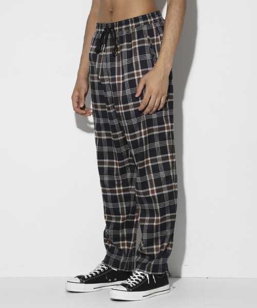 TR Check Wide pants [Brown]