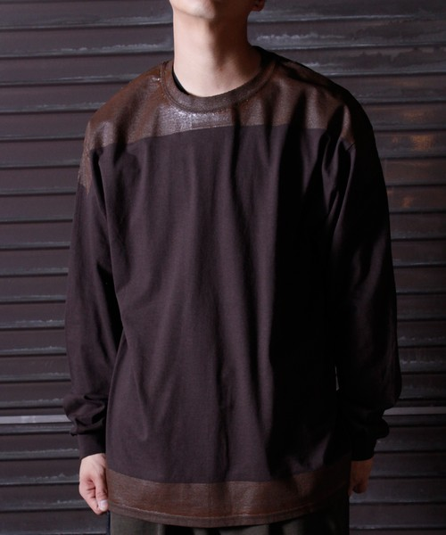 Product Print LS Tee -brown <LSD-BJ3T9>