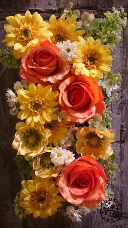 光触媒で空気を綺麗に♪ナチュラルインテリアグリーン【ウォールガーデン】壁掛けフラワーアレンジメント 黄色オレンジ