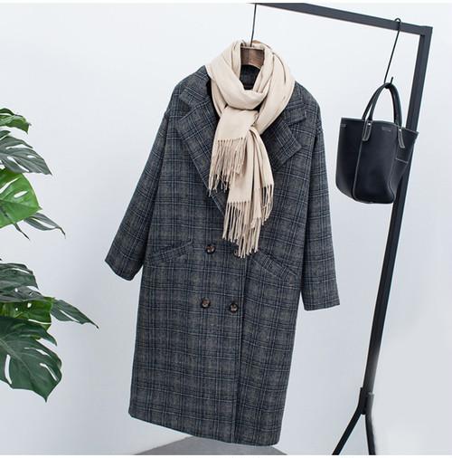 【注文商品】【アパレル】Check Velvet Vintage Fleece Long Over Coat【Gray】