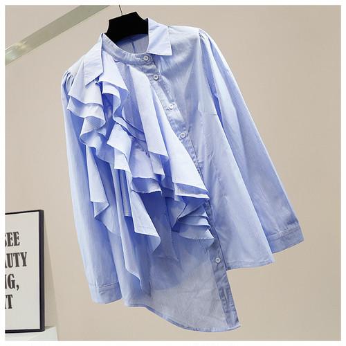 3色 mode ティアードフリルアシンメトリーシャツ c1518