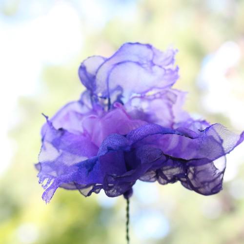 カラフルオーガンジーのアートフラワー【造花】|紫