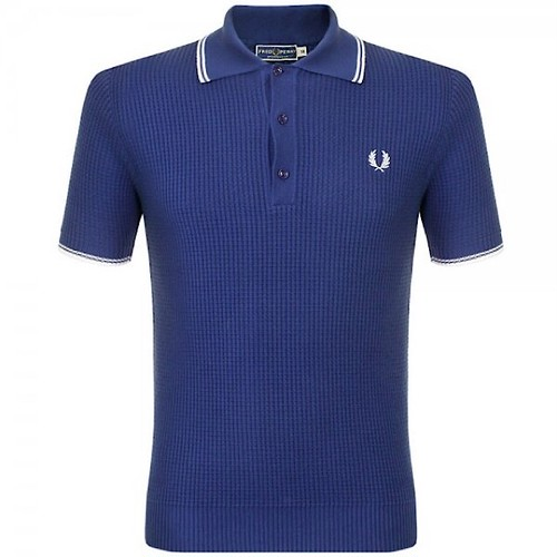 Fred Perry Knitted Polo Shirt French Navy Made In Italy UK36