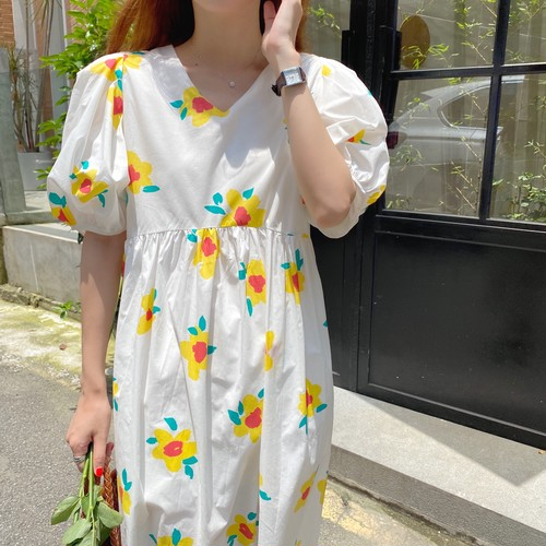 【dress】超人気スウィート一目惚れ清新人気デザインチュニック花柄ワンピース