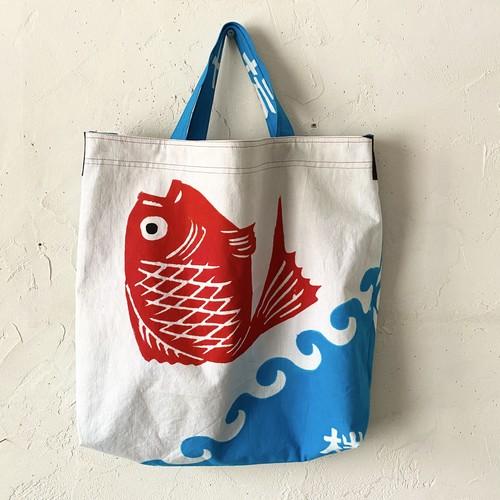 大漁旗リメイク2WAYバッグ「鯛」