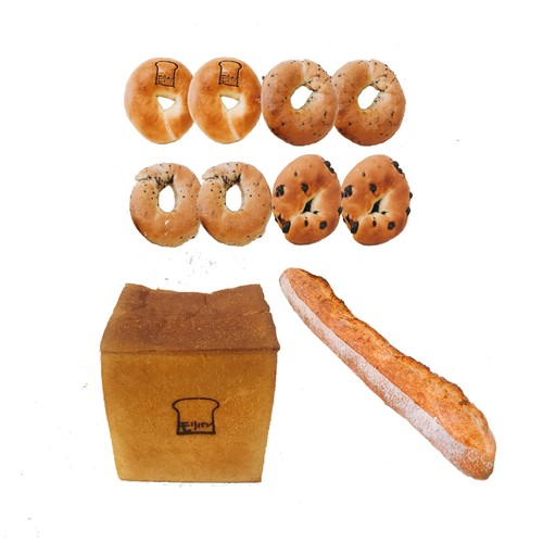 モリ食パン1斤& ベーグル4種類(プレーン・ごま・ごまチーズ・チョコ)8個 &バケット1本