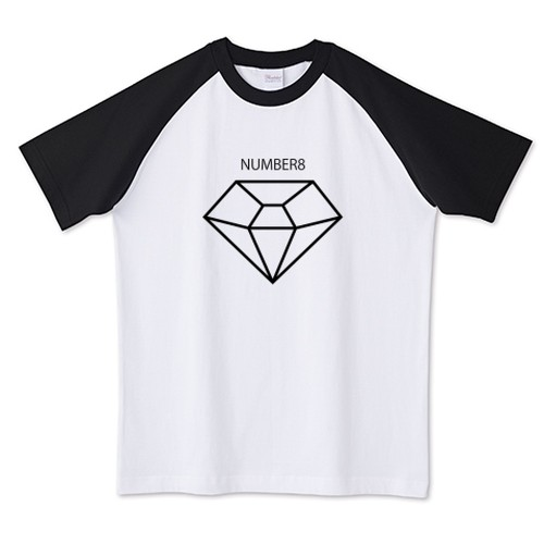 BIGブラックダイヤモンドラグランTシャツ Number8(ナンバーエイト)
