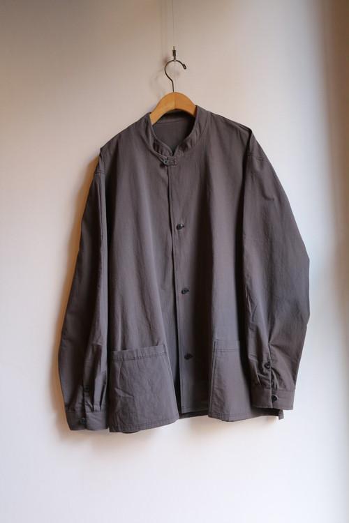 THE HINOKI コットンボイルパラシュートクロス スタンドアップカラーシャツ DARK GRAY #19S-10