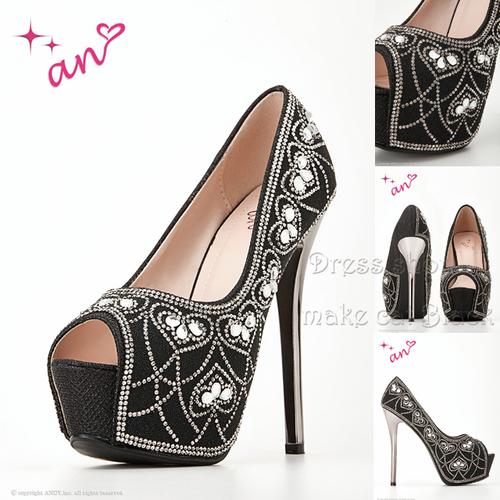 パンプス ¥12,960-(税込み) [an] AOC-SH024 Black  キャバドレス ドレス  ヒール