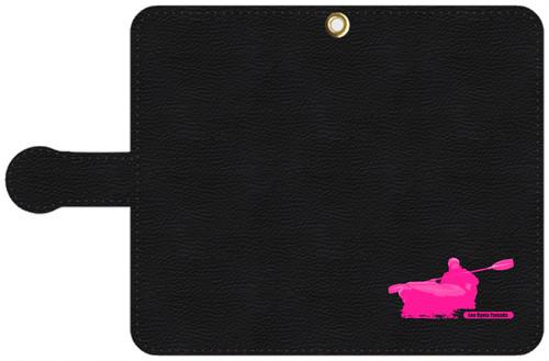 手帳型スマホケース・黒レザー調 Lサイズ パドリングシルエット(Leo R. Yamada)・ピンク
