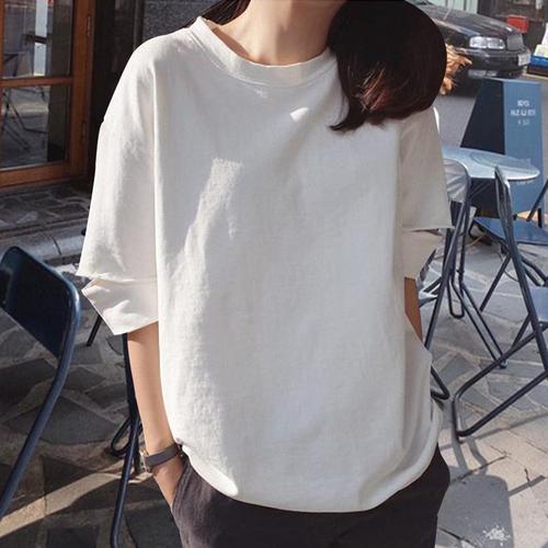 Tシャツ 半袖 ゆったり ラウンドネック シンプル 五分袖 コットン 無地 ダメージ加工 カジュアル
