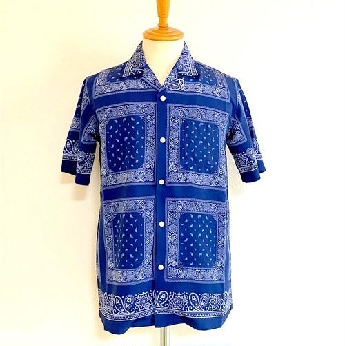 Bandanna Fabric Open Collar Shirts Navy