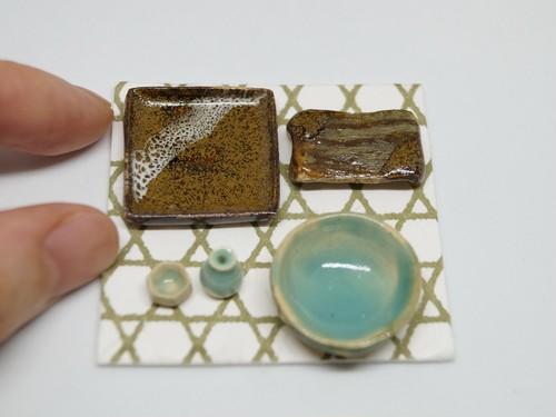 【ミニチュア陶芸】水色のミニ徳利とお猪口と金茶皿セット artist sayaka 【送料込み】
