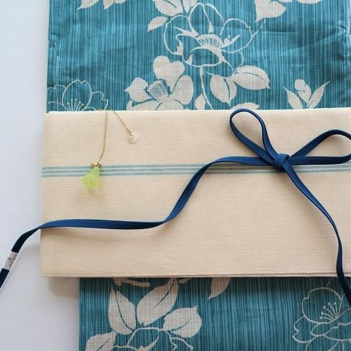 【半巾帯】麻の半巾帯 キナリ水色ライン