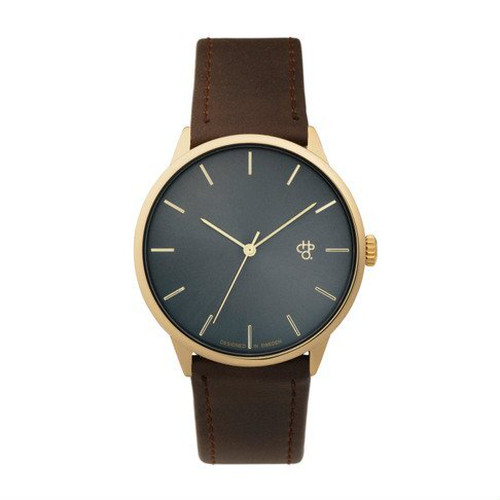 【CHPO】Khorshid Gold Metal Swedish metal dial / Brown vegan leather strap