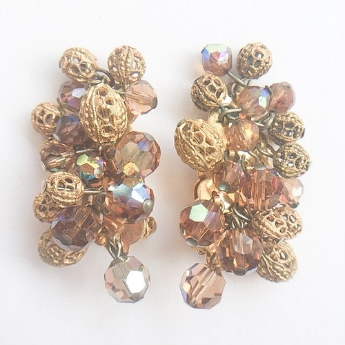 brown & gold cluster earring[e-936]