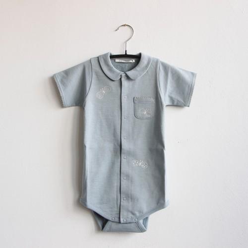 《mina perhonen 2020SS》choucho 半袖ロンパース / blue gray / 70cm