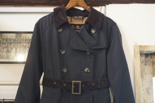 Barbour dark navy waxed cotton trench Coat