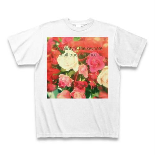 『シンプルさはすべてのエレガンスの鍵。』Tシャツ(白)