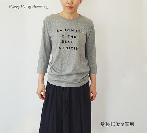 七分袖Tシャツ Laughter グレー 送料無料