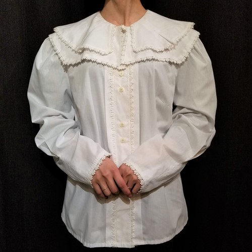 Double collar lace piping blouse[G-890]