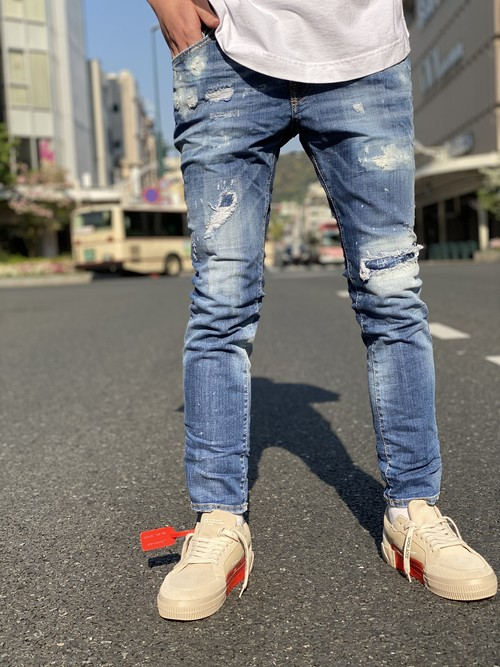 DSQUARED2 / Bleached Holes Medium Skater Jeans