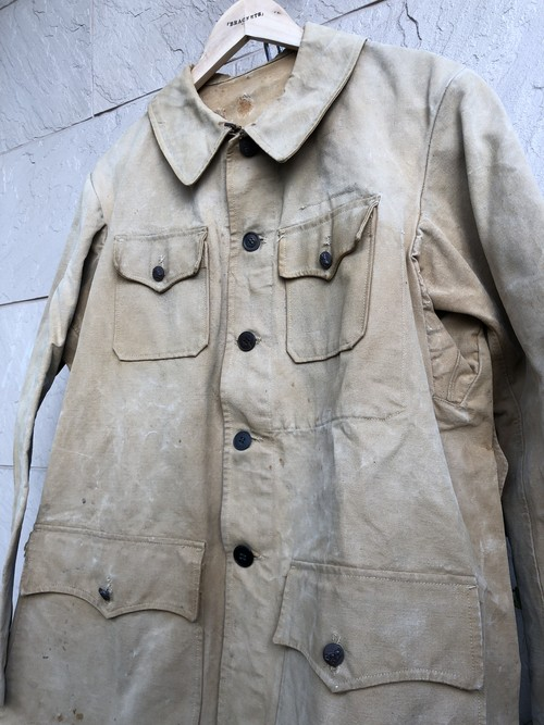 〜1940s French cotton canvas hunting jacket