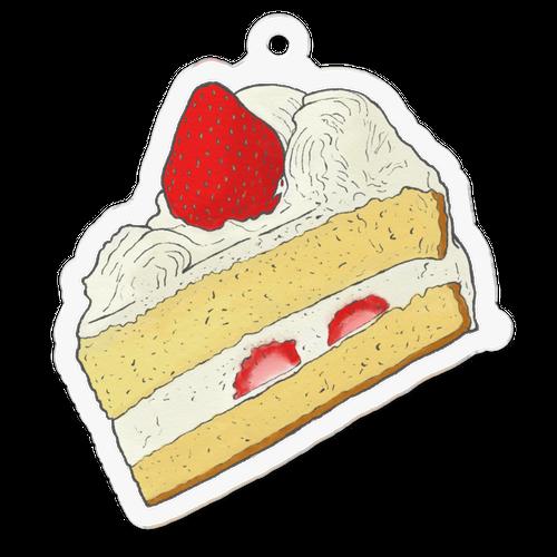 苺のショートケーキのイラストのアクリルキーホルダー