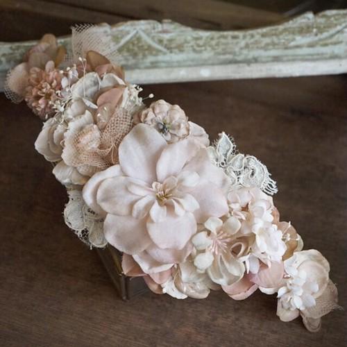 スモーキーピンクのロングヘッドドレス