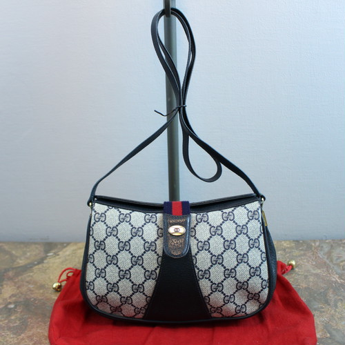 .OLD GUCCI GG PATTERNED SHERRY LINE SHOULDER BAG MADE IN ITALY/オールドグッチGG柄シェリーラインショルダーバッグ 2000000036014