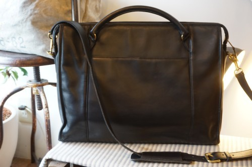 90's COACH two-way black leather Briefcase
