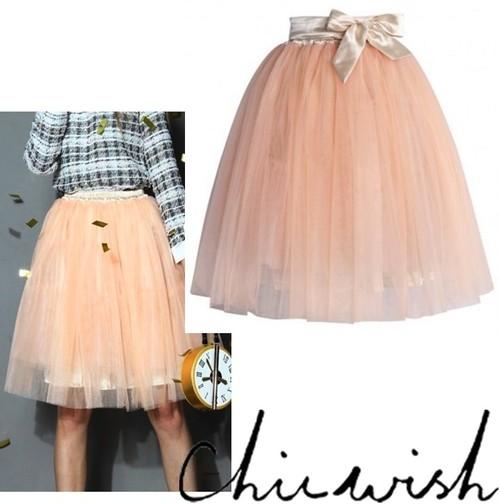 Chicwish シックウィッシュ 外せる リボン 付き チュールスカート Amore Tulle Midi Skirt in Ice Orange オレンジ フンワリ ボリューム セール 海外 ブランド