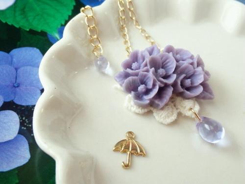 紫陽花の雨粒添えドール用ネックレス