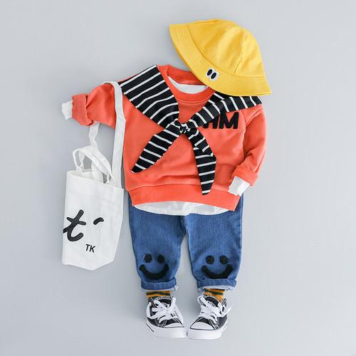 【ベビー服】カジュアル可愛いパーカーデニムパンツ2点セットアップ19846901
