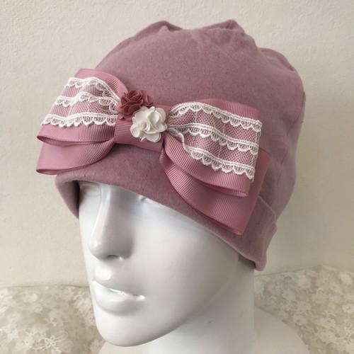 レースとお花のケア帽子 ローズピンク